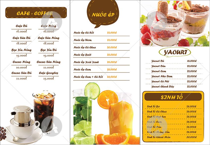 thiet ke menu quan cafe